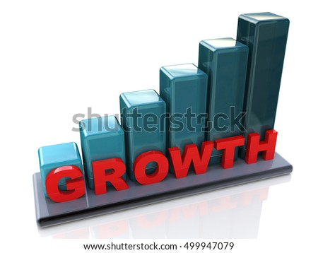Growth chart, growing business graph on a white background in the design of information related to the increasing abstraction. 3d illustration
