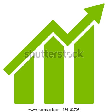 Growth Chart icon. Glyph style is flat iconic symbol with rounded angles, eco green color, white background.