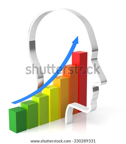 Growth Chart inside The Human Head. 3D rendering - stock photo