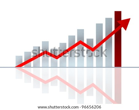 growth chart on a white background with a red arrow - stock photo