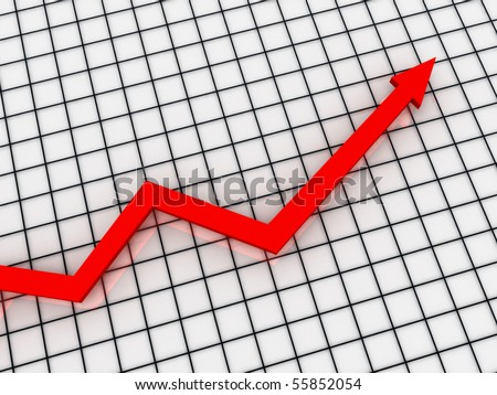 Growth Chart. red arrow on the checkered background. High quality 3d render. - stock photo
