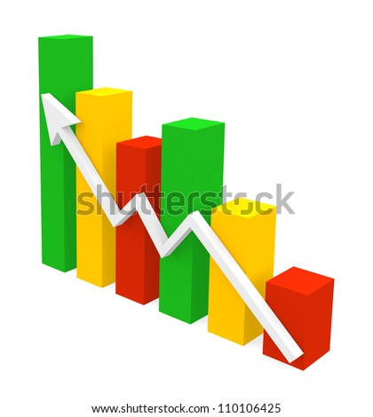 Growth Chart - three dimensional illustration isolated on white - stock photo