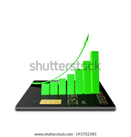 Growth chart with  credit card - stock photo