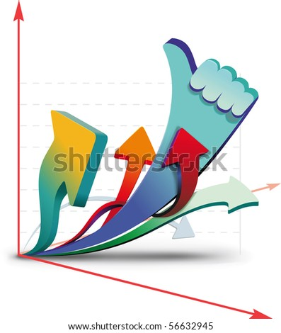 Growth charts, showing that all is well. Raster - stock photo