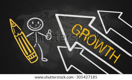 growth concept on blackboard