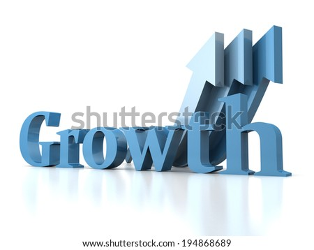 growth concept text with arrows. 3d render illustration - stock photo