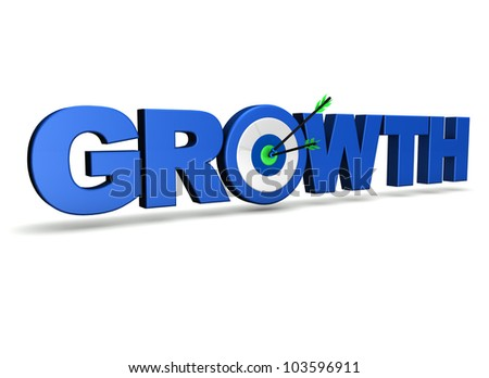 Growth concept with sign, target and two arrows on green centre. On white background.