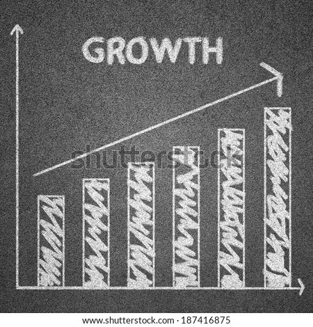 growth concept written on blackboard for background - stock photo