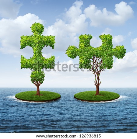 Growth connection with two trees in the shape of jigsaw puzzle pieces floating on an ocean moving together to merge into one strong partnership as a business concept of teamwork. - stock photo