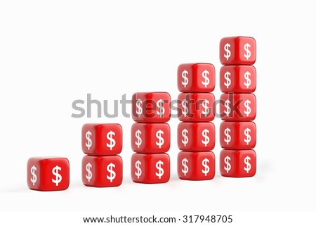 Growth Dollar Graph - stock photo