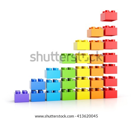 Growth graph diagram. Assembling colorful toy building blocks isolated on white background. 3D illustration - stock photo