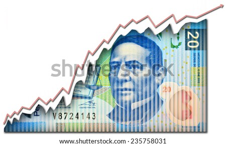 Growth graph growing through a Mexican peso bill. - stock photo