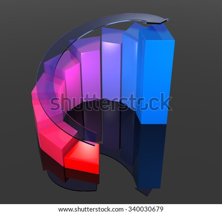 Growth Graph. Isolated on black background. 3D Rendering  - stock photo