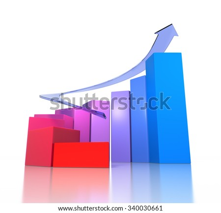 Growth Graph. Isolated On White. 3D Rendering  - stock photo