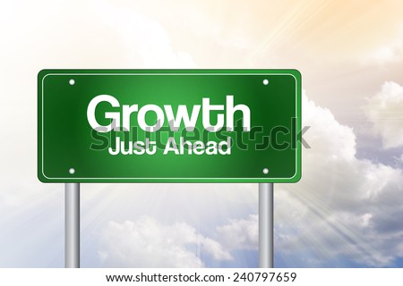 Growth Green Road Sign, business concept - stock photo