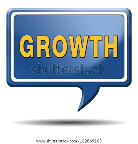 growth grow market stock or business development profit rise increase button or icon with text and word