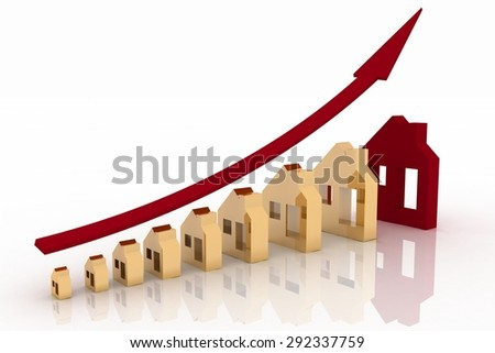 Growth in real estate shown on graph - stock photo