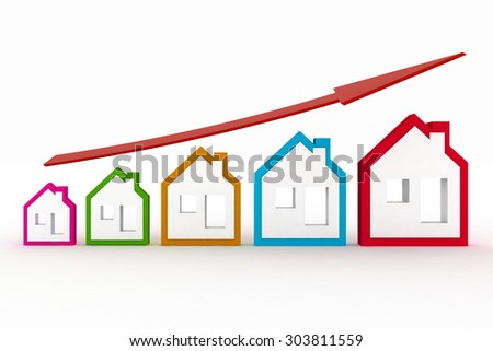Growth in real estate shown on graph . 3d illustration - stock photo