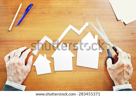 Growth in sales of real estate. Abstract conceptual image - stock photo