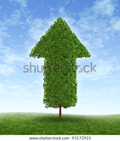 Growth investing and financial business success during economic good times as compound interest from productive investment with a green tree in the shape of an arrow pointing up to the blue sky. - stock photo