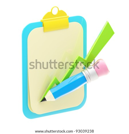 Growth of indicators drown with pencil on a paperclip isolated on white