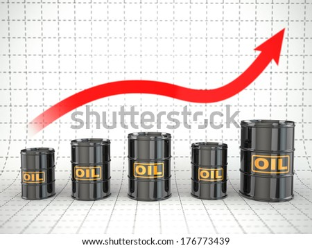 Growth of oil price. Barrels and graph. 3d - stock photo