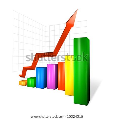 growth of profit margin (colour) - stock photo