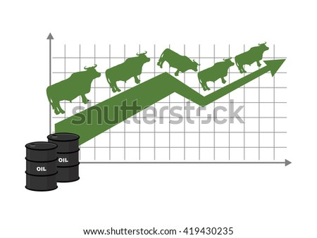 Growth rate of oil. Oil quotations increase. Barrel of oil. Green up arrow. bulls are coming up. Raising rates. Business graph for traders. Traders bulls players in exchange market - stock photo