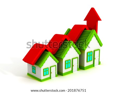 Growth real estate concept house graph with rising arrow. 3d render illustration - stock photo
