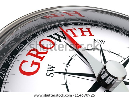 growth red word on concept compass on white background - stock photo