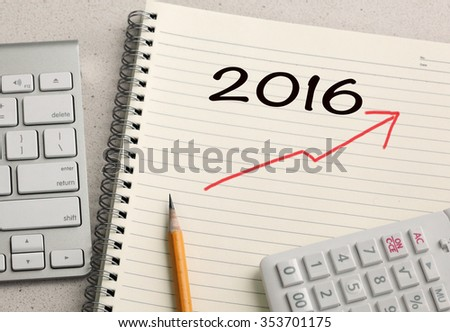 growth sign for the year 2016 - stock photo