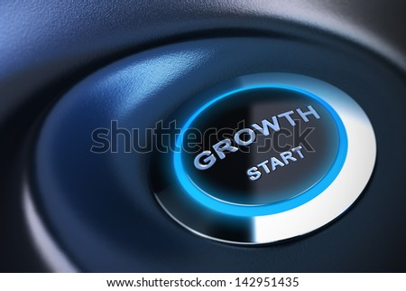 Growth start button, blue tones. 3D render suitable for restarting economy concept.