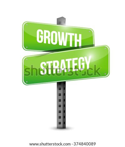 Growth Strategy street sign illustration design graphic - stock photo