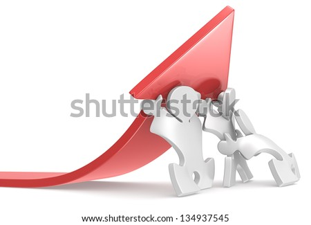 Growth. Team of Puzzle People pushing an Arrow. Red. - stock photo