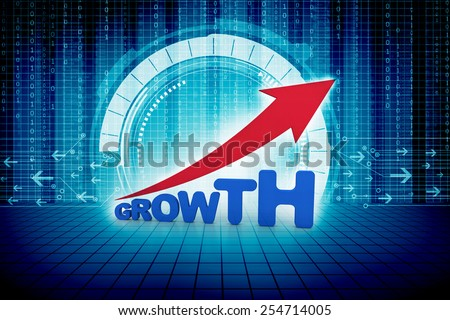 growth text arrow