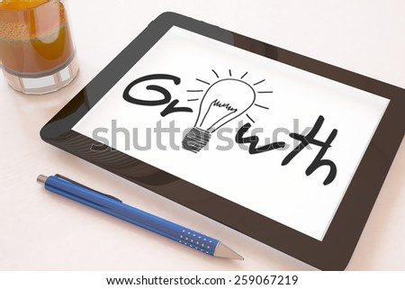 Growth - text concept on a mobile tablet computer on a desk - 3d render illustration. - stock photo