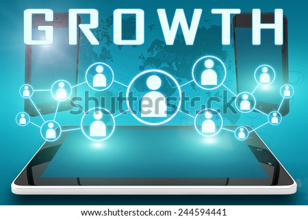 Growth - text illustration with social icons and tablet computer and mobile cellphones on cyan digital world map background - stock photo