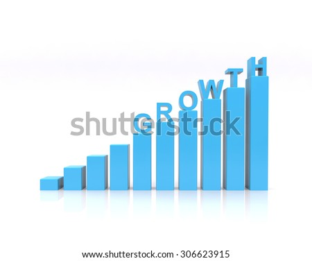 Growth text on growth chart. - stock photo