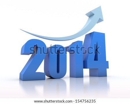 Growth 2014 With Arrow - stock photo