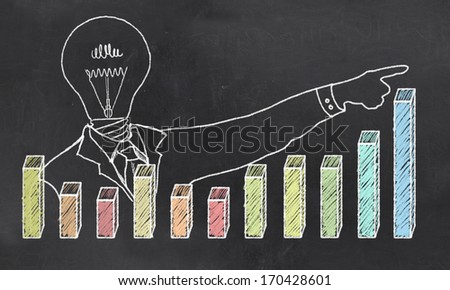 Growth with Creative Businessman showing Positive Graph - stock photo
