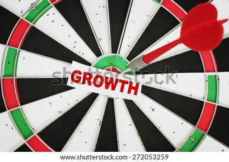 Growth word and a dart in center of Target - stock photo