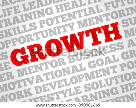 Growth word cloud, business concept - stock photo
