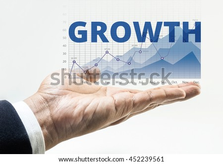 Growth word with business financial growing graph chart background on male hand.For business growth and financial success concept ideas. - stock photo