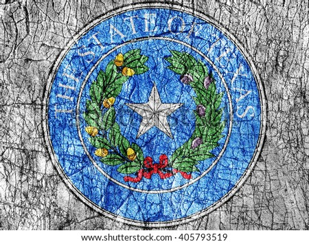 Grudge stone painted US Texas seal flag - stock photo