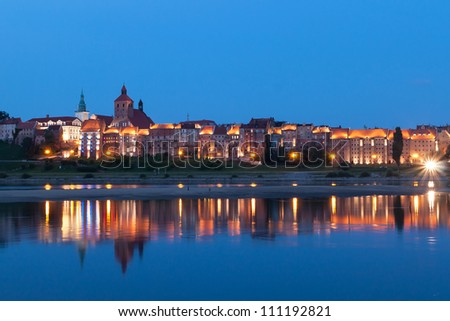 Grudziadz at night with  Wisla river, Poland