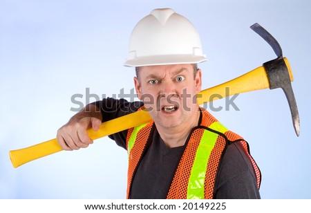 Grumpy Construction Worker - stock photo