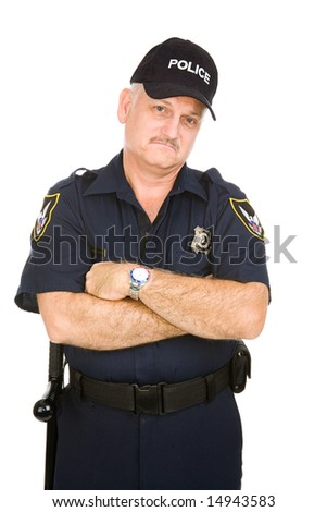 Grumpy looking police officer isolated on white background. - stock photo