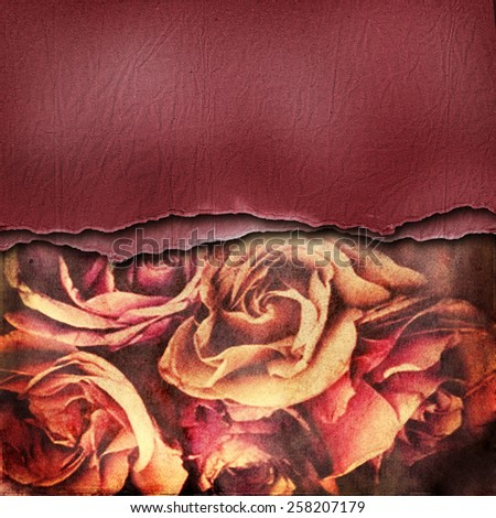 Grunge abstract background with roses - stock photo