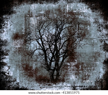 Grunge abstract background with scary tree, scratched texture, halloween wallpaper