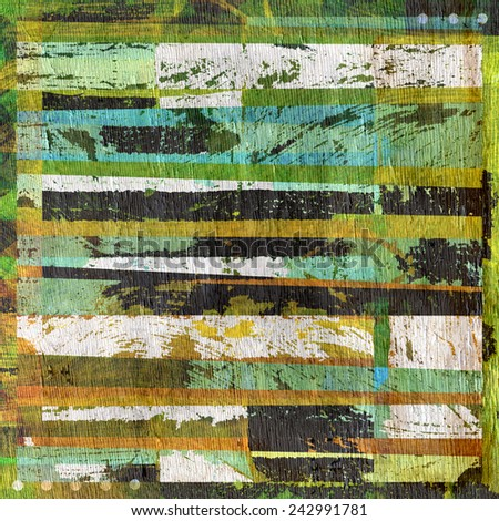 grunge abstract design with stripes on wood grain texture - stock photo